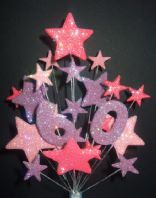 Number age 60th birthday cake topper decoration in pinks and lilac - free postage